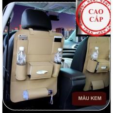 Túi đựng đồ 8 ngăn lưng ghế xe hơi đa năng bằng da PU cao cấp (Trắng Kem)