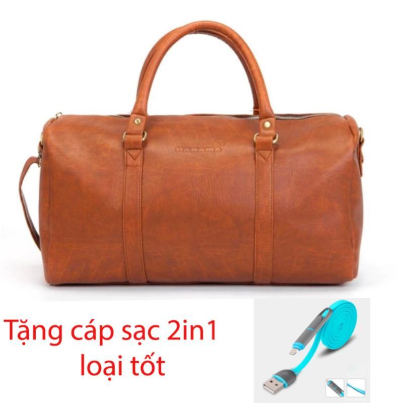 Túi xách da du lịch Hanama N1 (Nâu) tặng cáp sạc 2in1 cao cấp