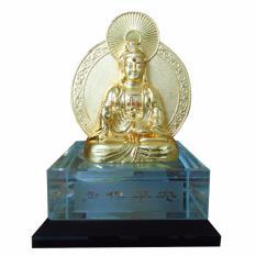 Tượng Phật Bà Quan Âm vàng ánh kim đế pha lê QAAK1