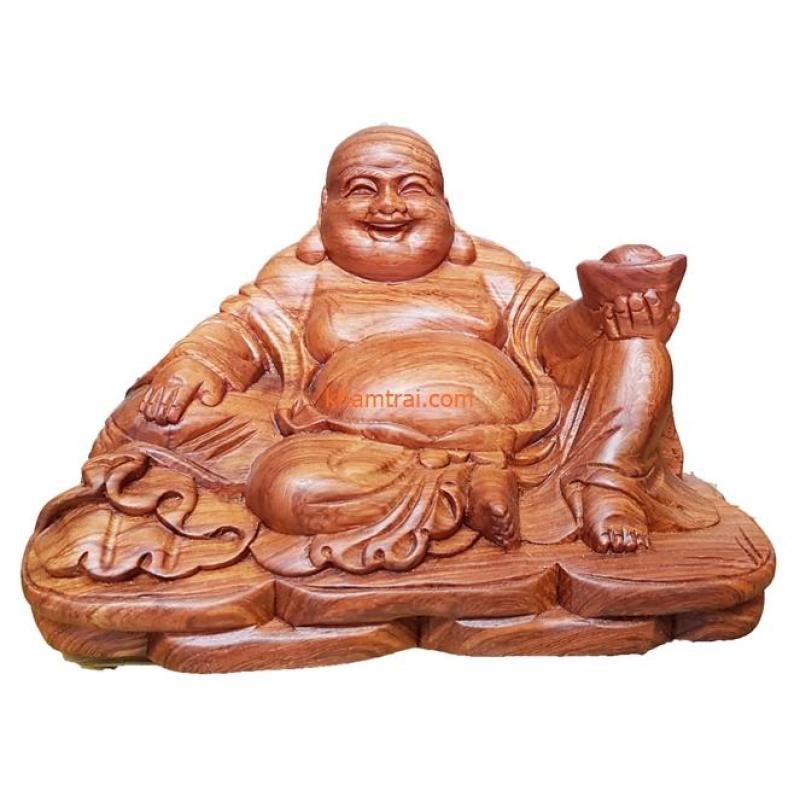 Tượng phật di lặc ngồi cầm vàng bằng gỗ Hương