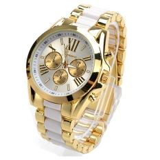 Unisex Quartz Full Steel Gold Dial Alloy Watch (White) - intl
