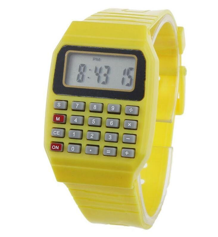 Unsex Silicone Casual Fashion Sport Watch For Men Kids Electronic Multifunction Calculator Watch Jelly Digital Watch Yellow - intl bán chạy