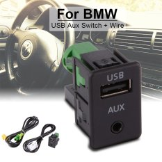 USB Aux Switch+Wire Cable Adapter for BMW 3 5 Series E87 E90 E91 E92 X5 X6 AC516 - intl
