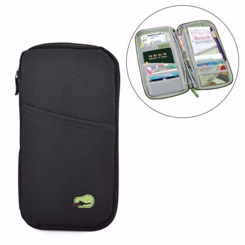 Ví 12 ngăn đựng giấy tờ thẻ và hộ chiếu du lịch Chodeal24h - Đen