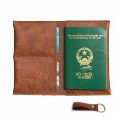 Cơ Hội Giá Tốt Để Sở Hữu Ví Passport Đựng Hộ Chiếu (Vàng Bò) - Tặng Móc Khóa Da