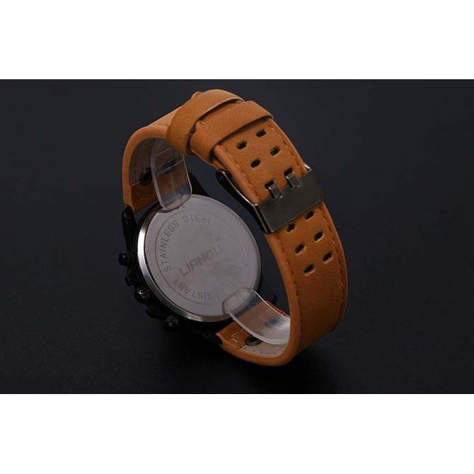 Vintage Classic Mens Waterproof Date Leather Strap Sport Quartz Army Watch BW Brown - intl