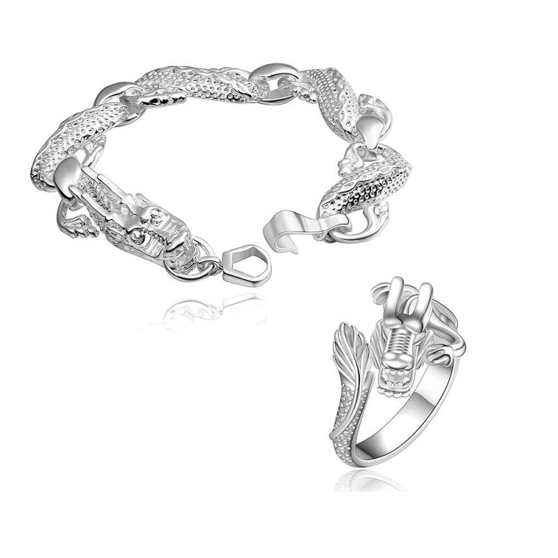 Vintage silver plated Chinese Dragon bangle ring jewelry set - intl