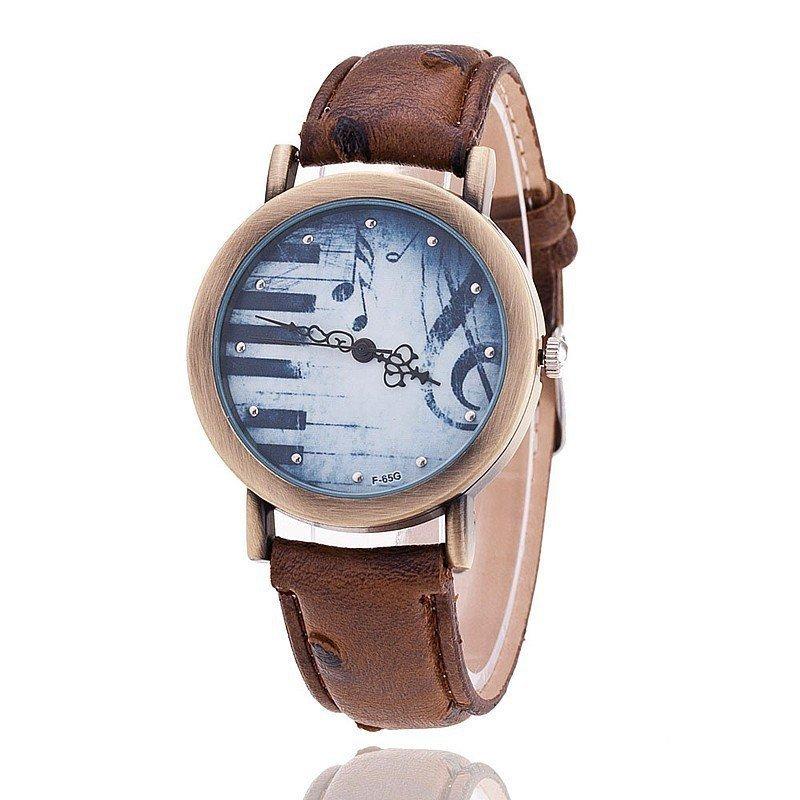 Nơi bán Vintage Women Dress Watches PU Leather Strap Piano Key Clock Ladies Wristwatch (Brown) - intl
