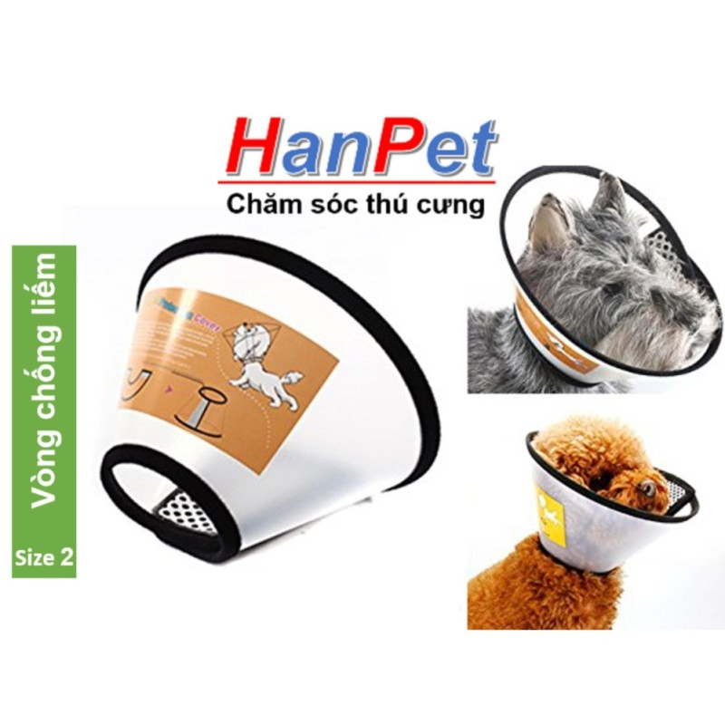 HN-Vòng chống liếm cho chó mèo Số 2, Loa chống cắn chó mèo 12-17kg (hanpet loa 2)