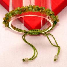 Vòng tay dây bện Ngọc Cẩm thạch vàng hạt 3mm (free size) trang sức Longgem