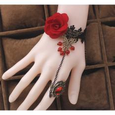 Vòng tay kèm nhẫn hoa hồng ren phong cách châu Âu