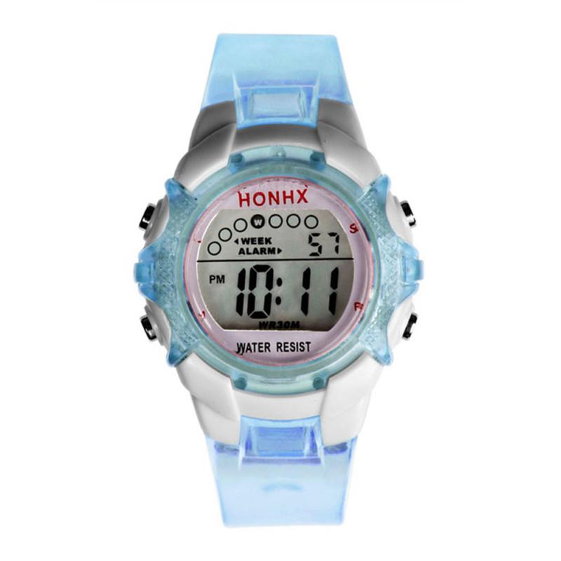 Waterproof Children/Girls Blue Digital LED Quartz Sports Wrist Watch bán chạy