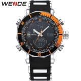 Mua Weide Wh5203 Men Military Stainless Steel Quartz Wristwatch Waterproof Multi Function Lcd Digital Men S Clock Black Orange Intl