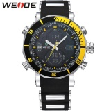 Giá Bán Weide Wh5203 Men Military Stainless Steel Quartz Wristwatch Waterproof Multi Function Lcd Digital Men S Clock Black Yellow Intl Weide