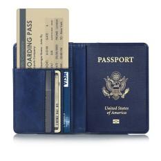 Mã Ưu Đãi Khi Sở Hữu Ngay Whyus-Travel Passport Covers Credit Card Boarding Pass Holder Protective Cover Wallet Case (Dark Blue)