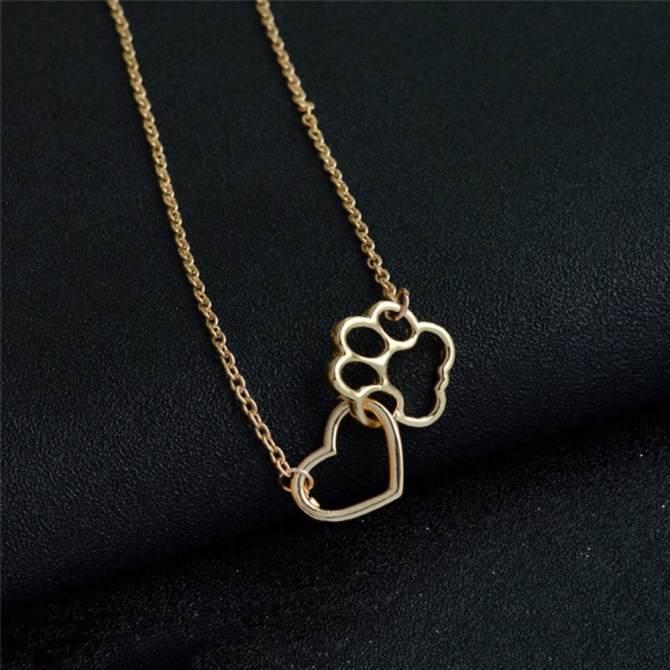 Thời Trang nữ Chó Móng Vuốt Mặt Dây Chuyền Vòng Cổ Trái Tim Rỗng Vòng Cổ Trang Sức Charm Vàng 50 cm-quốc tế