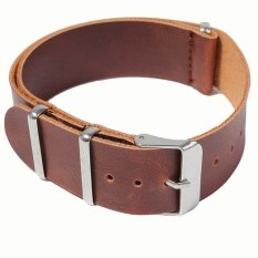 Hình ảnh Women Men Thin Soft PU Leather Adjustable Replacement Watchband Watch Band Strap Belt with 3 Rings for 20mm Watch Lug Dark Brown