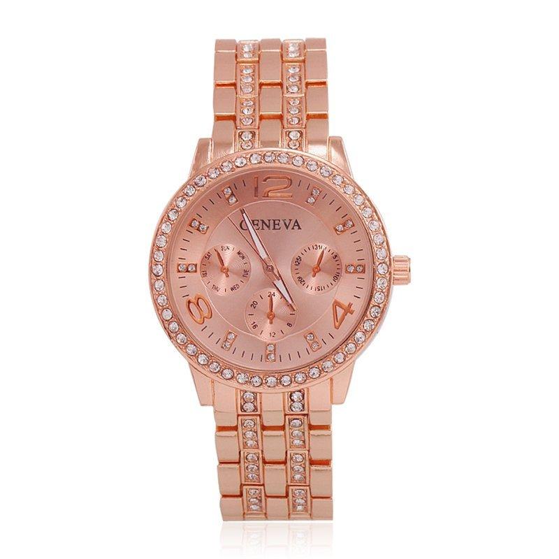 Nơi bán Women Rhinestone Feminino Wriswatches Stainless Steel Watches (Pink) - intl