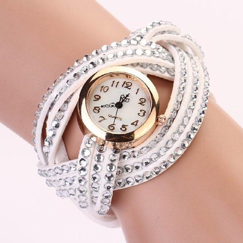 Nơi bán Women Round Dial Rhinestone Weave Wrap Synthetic Leather Bracelet Wrist Watch Watches (White) - Intl
