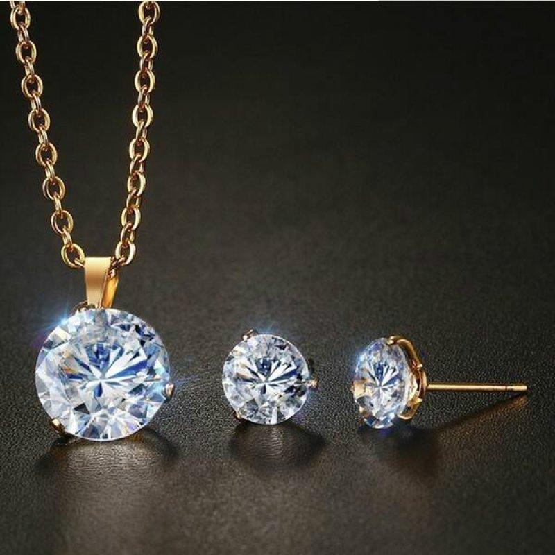Women Stainless Steel White Zircon Necklace + Stud Earrings Set Jewelry - intl