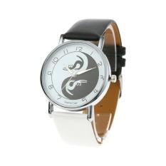 Nơi bán Women Watch Cat Pattern Leather Band Casual Quartz Wrist Watch (Black + White) - intl