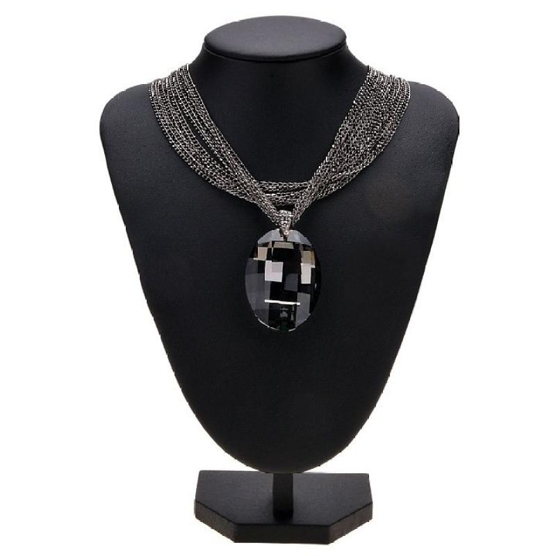 Womens Retro Big Rhinestone Pendant Multi-layer Necklace (Black)