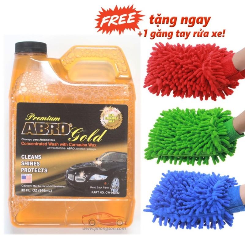 Xà bông rửa xe Ôtô Abro đậm đặc +1 Găng tay rửa xe