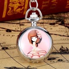 Hình ảnh YBC Thời Trang Nữ Dễ Thương Đồng Hồ Bỏ Túi Với Mặt Vòng Cổ Dây Chuyền Trang Sức Quà Tặng-intl