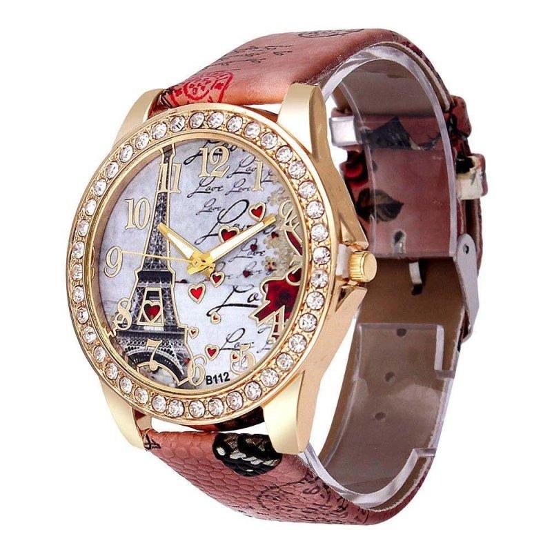 Nơi bán YBC Women Fashion PU Leather Band Watch Eiffel Tower Crystal Casual Quartz Watches - intl