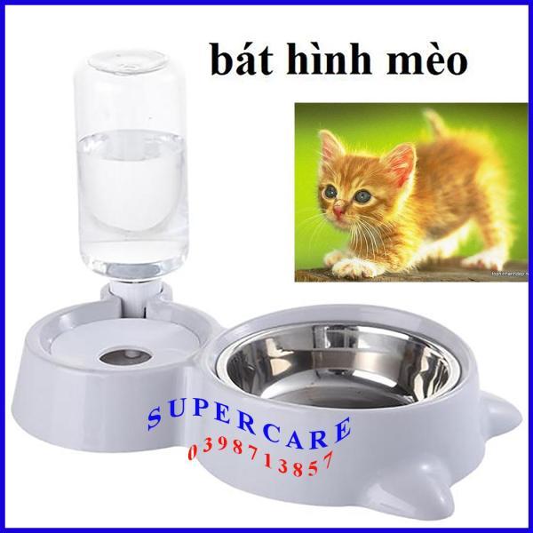 Bát Ăn Chó Mèo - Bát Ăn Hình Mèo Kèm Bình