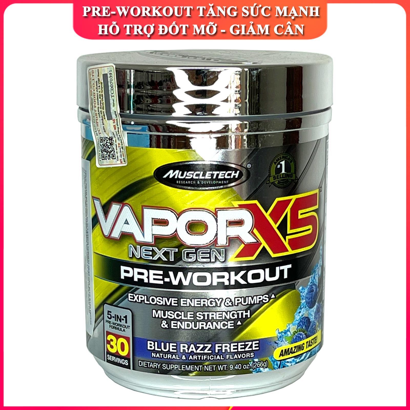 Pre-Workout tăng sức mạnh sức bền trước tập hỗ trợ giảm cân đốt mỡ Vapor X5 của MuscleTech hộp 30 lần dùng cho người tập gym và chơi thể thao - thực phẩm bổ sung