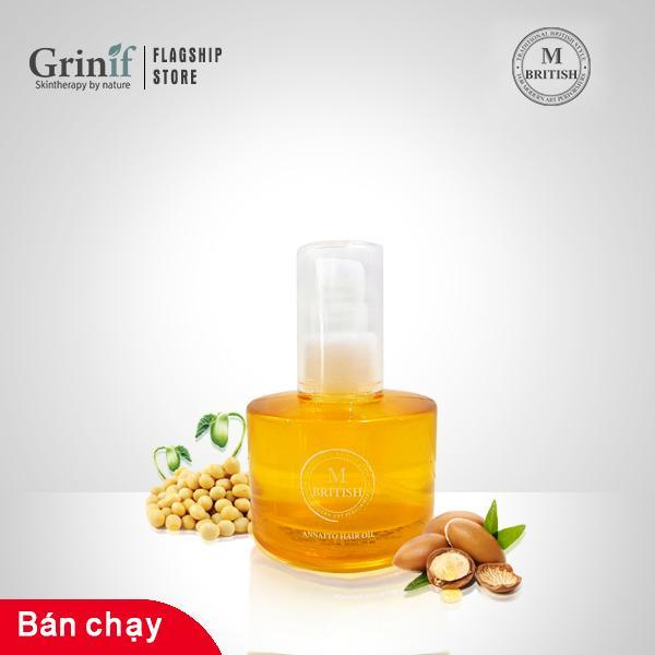 Dầu dưỡng tóc phục hồi tóc hử tổn nặng Organic BRITISH M Annatto Hair Oil 70ml