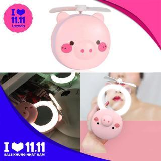 [SALE GIÁ SỐC] Gương soi mini thú cưng Hình Heo màu hồng kèm đèn, quạt siêu đáng yêu thumbnail