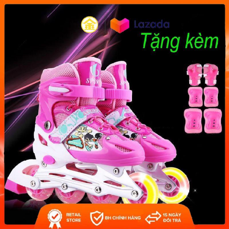 Mua giày trượt patin 4 bánh màu Hồng, Xanh, Đỏ, bánh xe phát sáng + Tặng bộ bảo hộ cho bé - KIM STORE 89