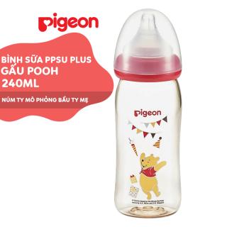 Bình sữa cổ rộng PPSU Plus Gấu Pooh Pigeon 240ml (M) thumbnail