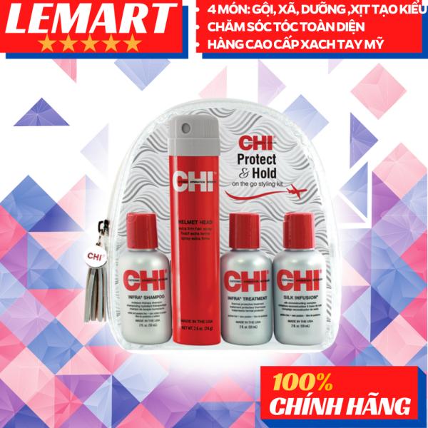 Combo Đầy đủ sản phẩm chăm sóc tóc CHI - Protect & Hold (4 món) Gội - Xả - Dưỡng - Tạo kiểu . Tiện lợi nhỏ gọn để mang đi bất cứ lúc nào