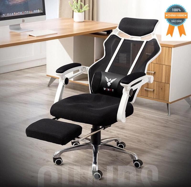 Ghế xoay ngả lưng thư giãn gác chân Mina Furniture NT001-T (TRẮNG) giá rẻ