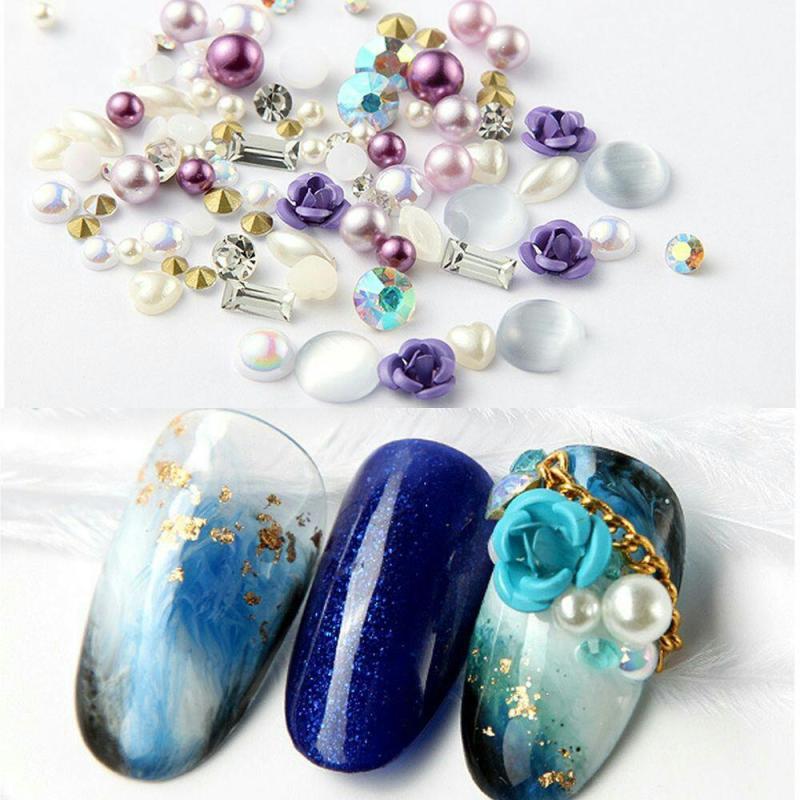 Bông kim loại mix hạt châu, đá trang trí móng