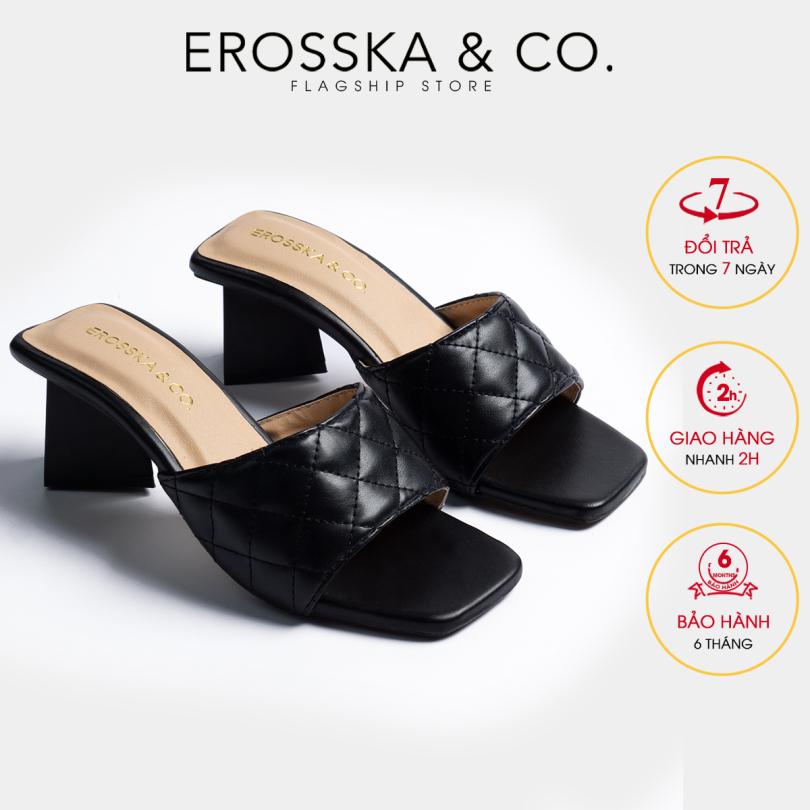 Dép nữ, dép cao gót Erosska thời trang mũi vuông quai ngang phối gót sơn gỗ kiểu dáng thanh lịch cao 5cm EM045 (BA) giá rẻ