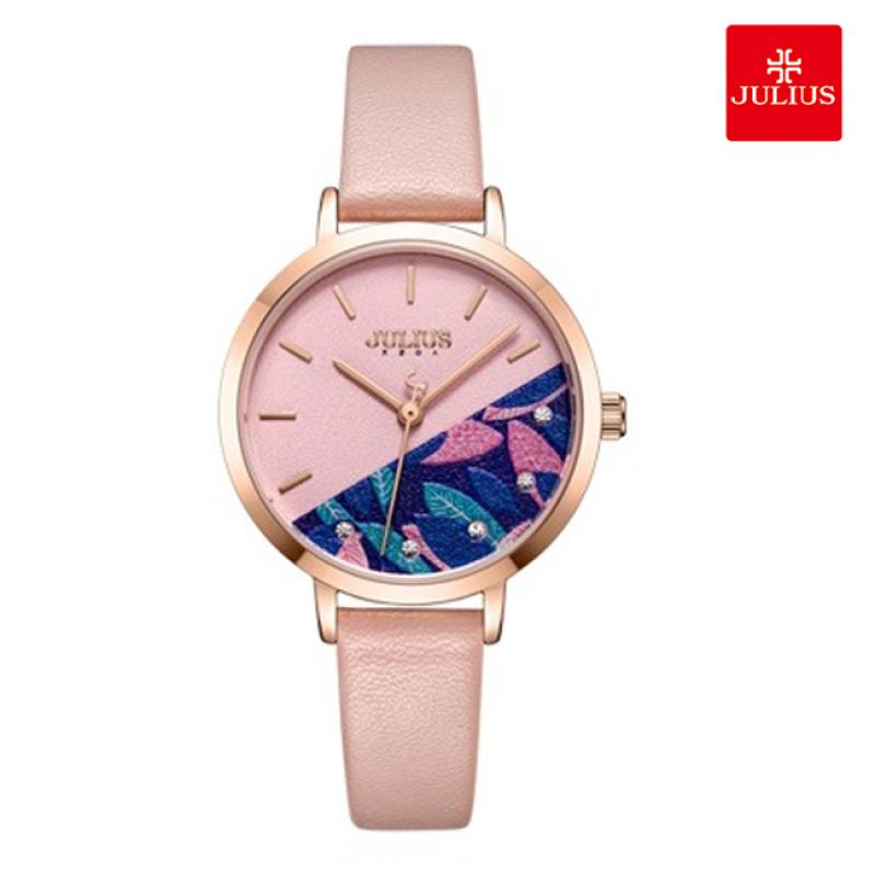 Đồng hồ nữ Julius JA-1089 dây da mặt đính hoa nhí