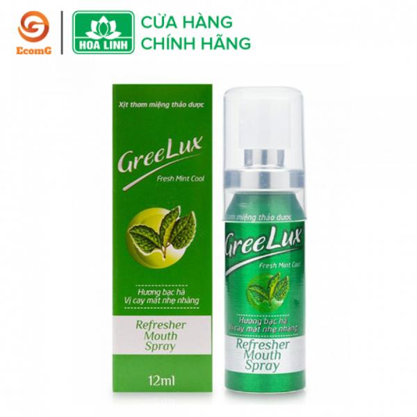Xịt thơm miệng Greelux thảo dược bạc hà nhẹ nhàng (XANH LÁ)12ml dạng chai nhỏ gọn mang lại hiệu quả tức thì, giúp ngừa sâu răng - GL1-01