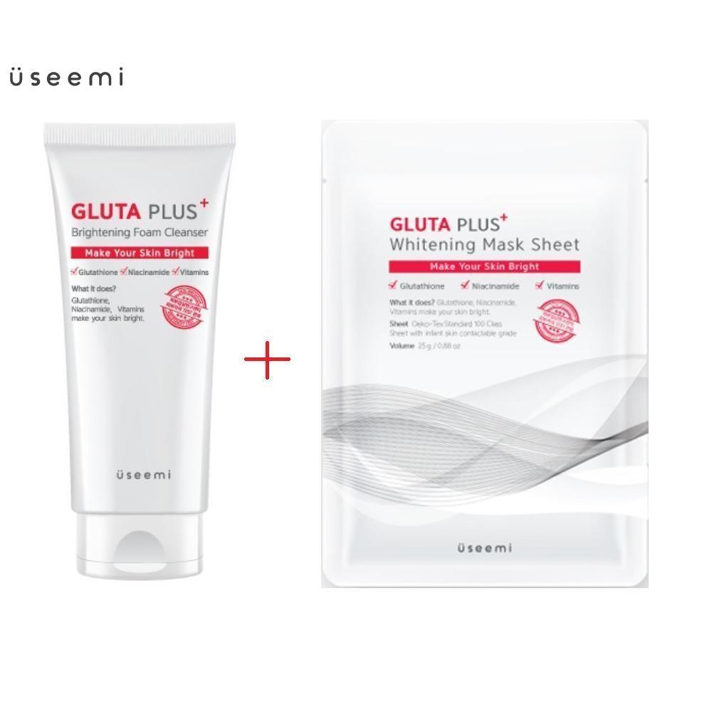 Combo sữa rửa mặt và mặt nạ làm sáng da, dưỡng trắng Useemi Gluta Plus Brightening Foam Cleanser 150ml. Bộ sản phẩm sữa rửa mặt và mặt nạ dưỡng ẩm, chăm sóc da mặt hàng chính hãng Useemi chất lượng cao