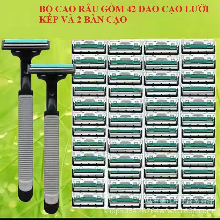 Bộ Dao Cạo Râu Giá Rẻ Cho Nam Giới 42 Dao Cạo lưỡi Kép + 2 bàn cạo cam kết hàng chất lượng cao