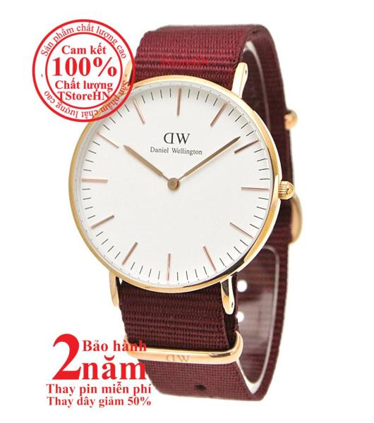Đồng hồ nữ D.W Classic Roselyn 36mm - Màu vàng hồng (Rose Gold), Dây Fabric đỏ (Ruby Red), DW00100271