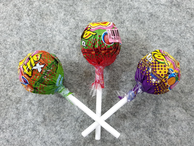 [Siêu hot] Combo 3 cái kẹo Chupa Chups size XXL Trio 3 in1 vị Hoa quả, Vị Dâu Tây, Vị Táo : Lớp 1 : Kẹo mút, lớp 2 : siro, lớp 3 : singum ( Mẫu mới  - Nội địa Holland - Xách tay Hà Lan - HSD : 8/2020)