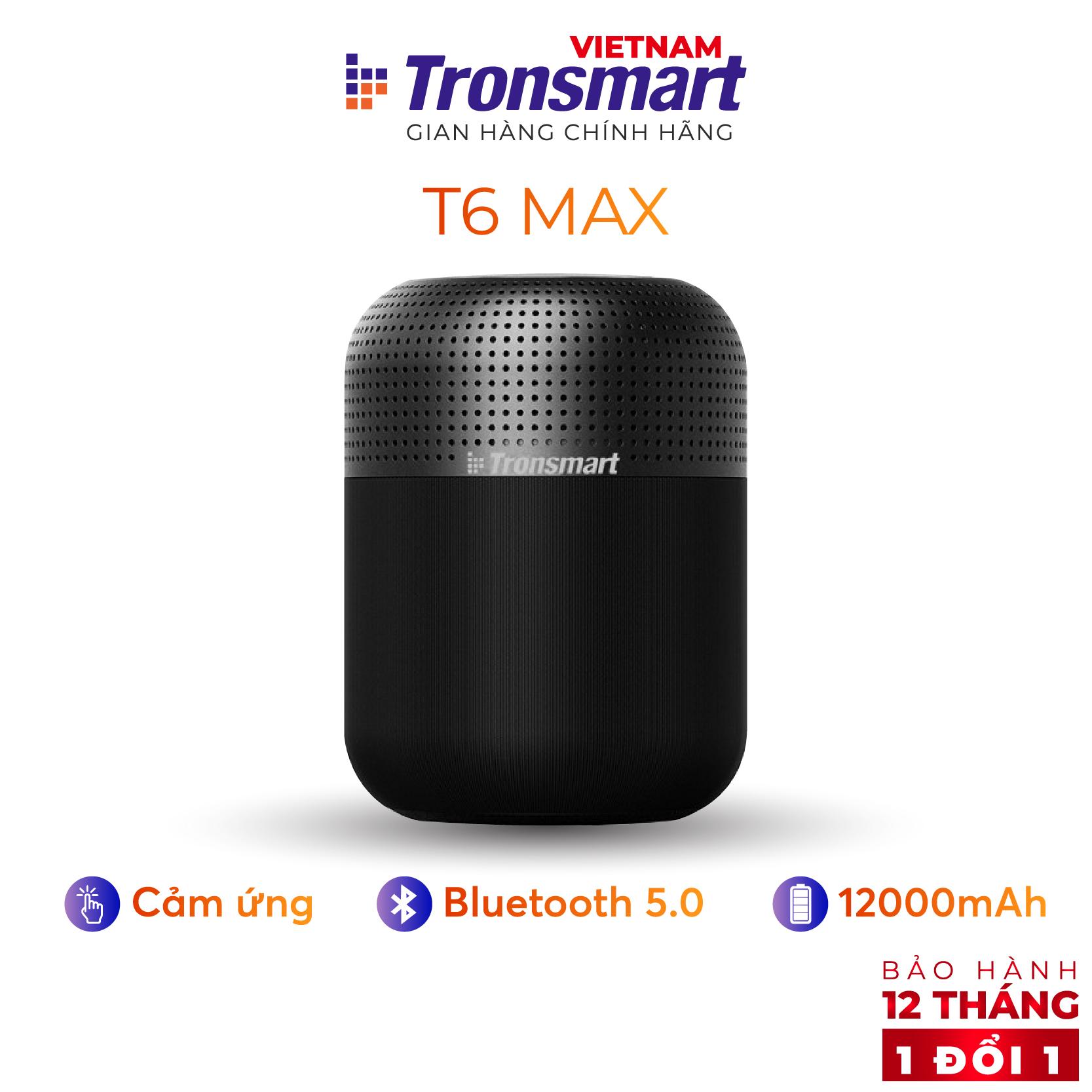 [VOUCHER 7% tối đa 500K] Loa Bluetooth 5.0 Tronsmart Element T6 Max Công suất 60W Ghép đôi 2 loa - Hàng chính hãng - Bảo hành 12 tháng 1 đổi 1