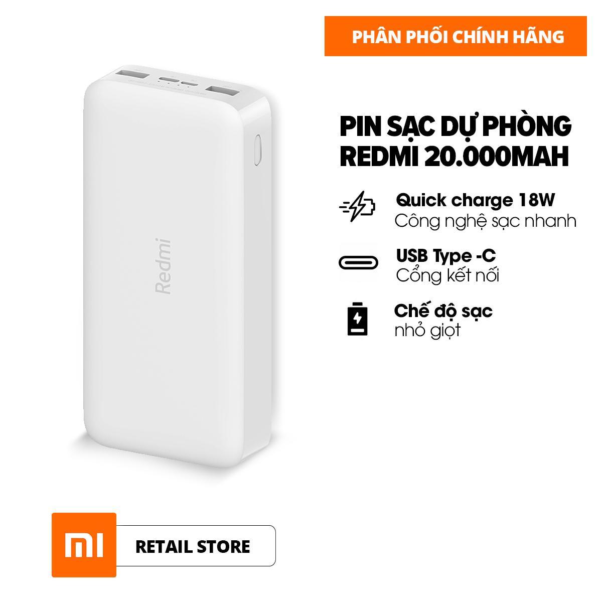 [HÀNG CHÍNH HÃNG - ĐỘC QUYỀN LAZADA] Sạc dự phòng Xiaomi Redmi 20.000mAh - Sạc nhanh Max 18W - Input: Micro USB & Type-C / Output: USB-A x2