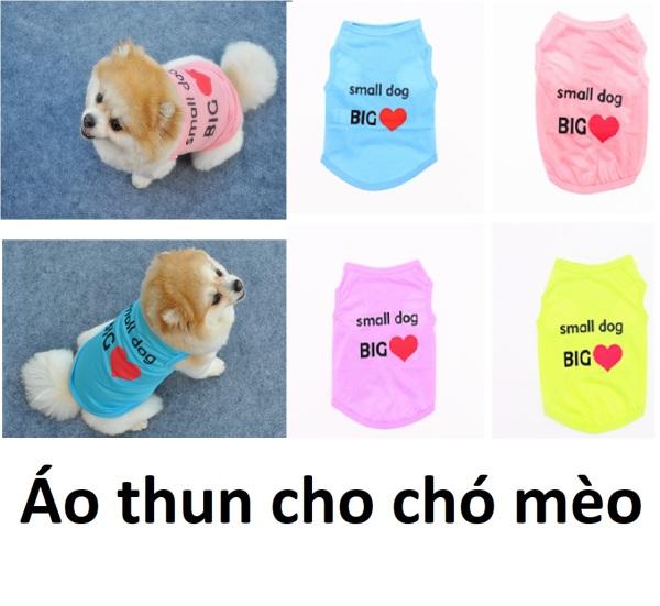 Hn- Áo chó mèo hình tim loại áo mùa hè không tay Small Dog Big love