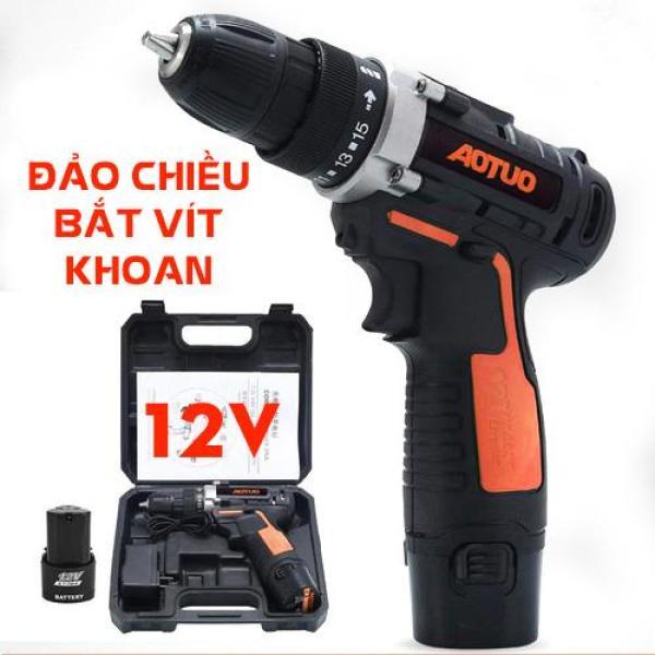 Máy khoan AOTUO pin 12V , máy khoan đa năng, máy khoan bắn vit, máy khoan cầm tay, bộ máy khoan sửa chữa vặn vít Aotuo 12V có đảo chiều ( có lựa chọn 1 hoặc 2 pin )