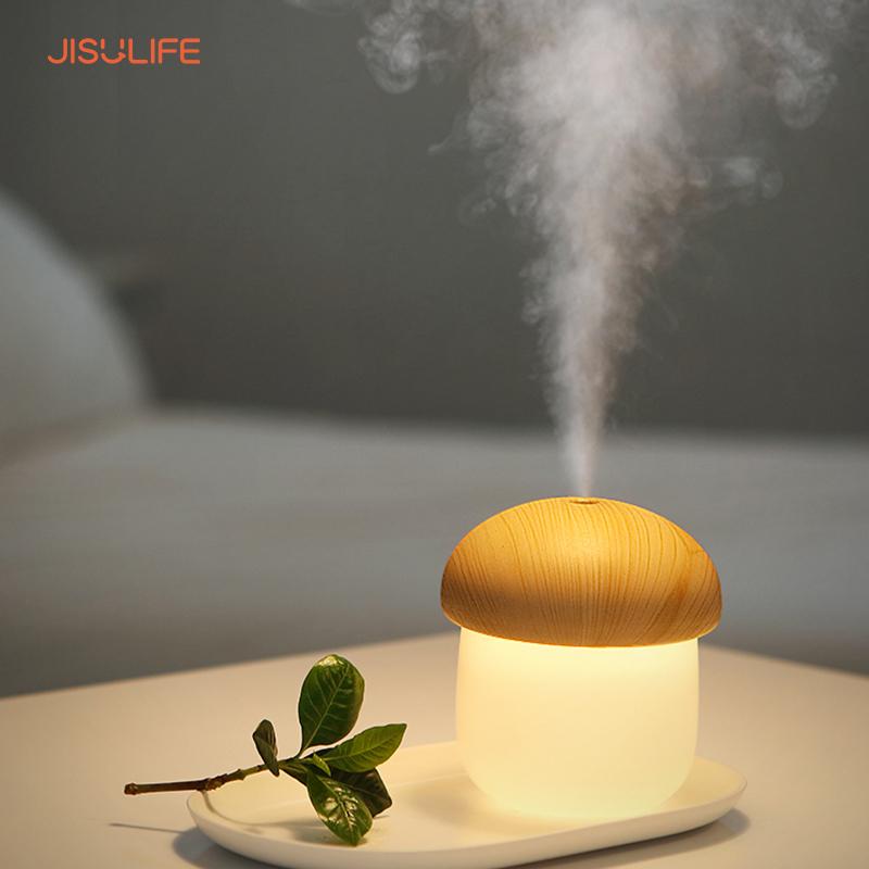 Máy phun sương tạo ẩm không khí và giữ ẩm da Jisulife JM02 - Thiết kế hình nấm và tự động tắt khi hết nước - Máy tạo ẩm không gian thư giãn kiêm đèn ngủ ánh sáng tùy chọn - Bảo hành 12 tháng chính hãng